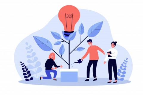 logo del business team watering innovation plant